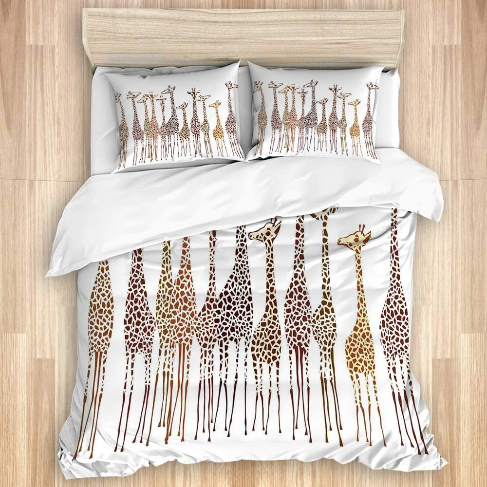 Max 71% OFF LONSANT Washed Duvet Cover Set Giraffes Climates Exotic Tropical Recommendation