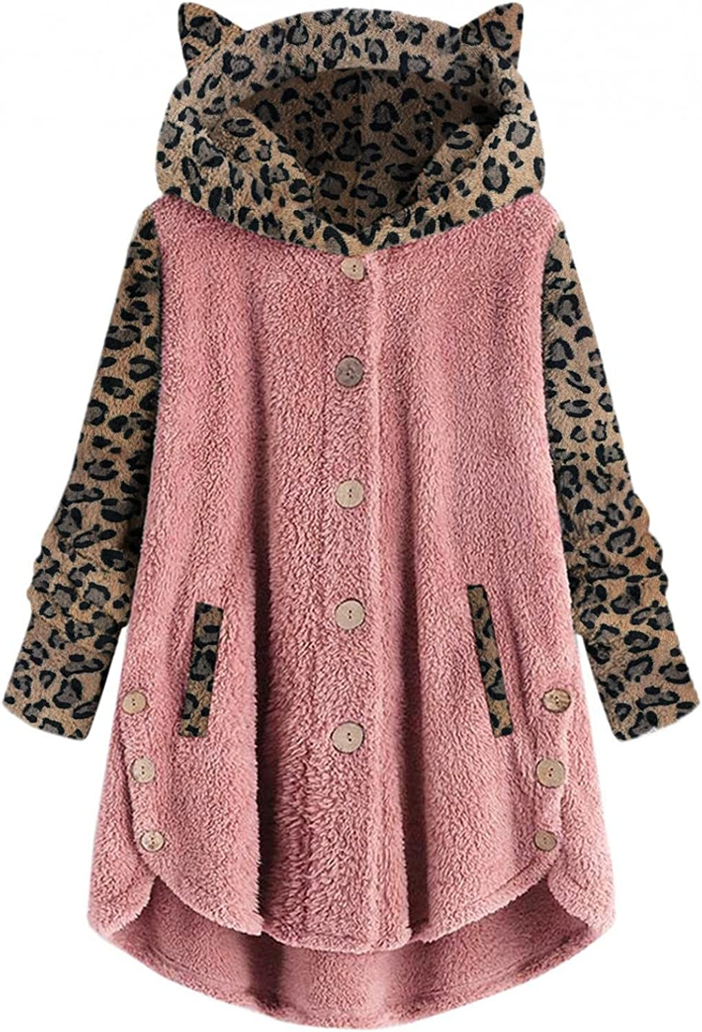 Women's Double-Sided Fleece Jacket Coat Cat Ear Cap Hooded Button Plus Size Patchworl Pullover Loose Trench Blouse