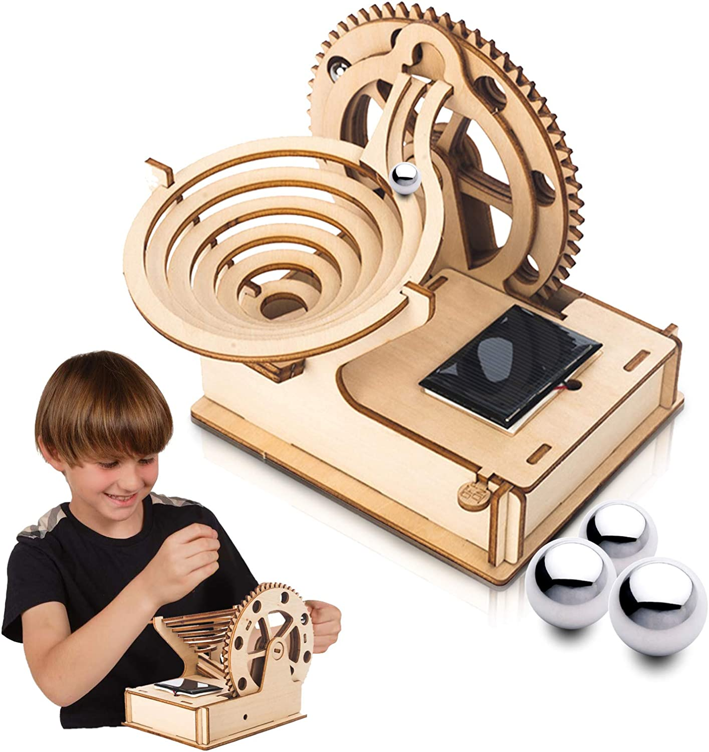 Marble Run 3D Wooden Puzzle for Teens and Adults,DIY Model Kit,Educational Jigsaw Puzzles Building Toys Birthday Gift for Women//Kids Ages 8-10-12-14 STEM Projects Science Experiments Runs on Solar