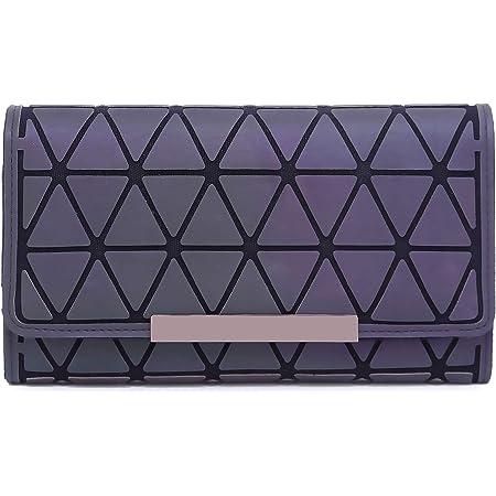 Geometrische Lange Brieftasche und Geldbörse - Mode Leuchtend Trifold Gitter Geldbörse Brieftaschen für Damen 05
