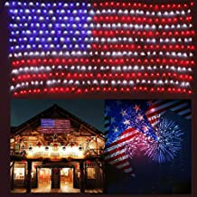 HuiZhen Awesome American Flag String Lights,6.5ft×3.2ft Waterproof Flag Net Lights for Outdoor Christmas Decoration, Independence Day,Memorial Day, Patio Decorations Outdoor