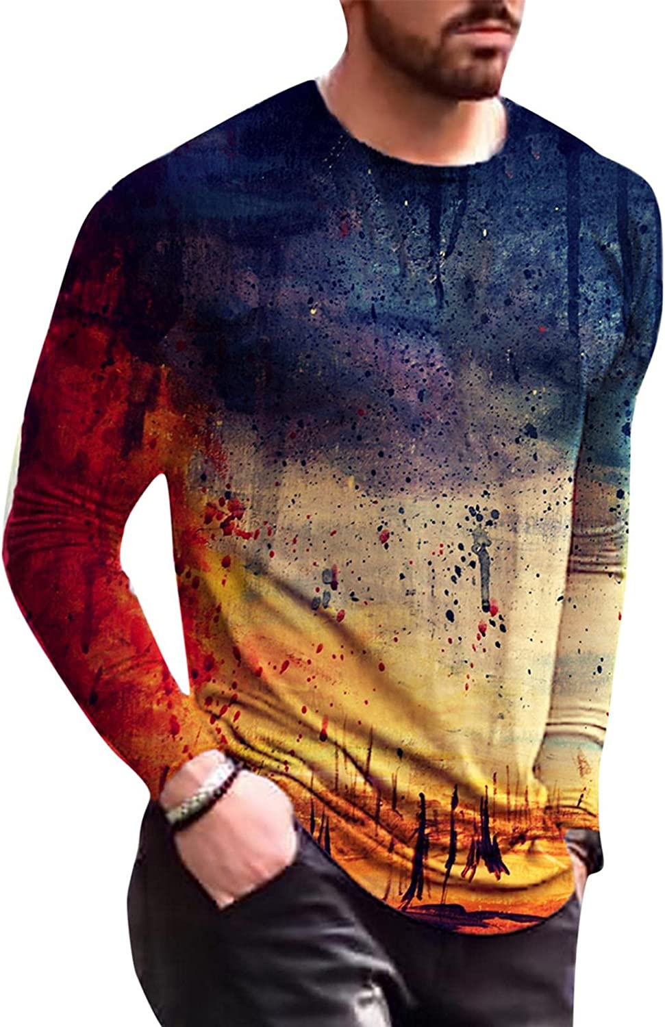 Aayomet Men's T Shirts Vintage Graphic Long Sleeve Slim Fit T-Shirt Casual Beach Sport Workout Athletic Tee Shirts Tops