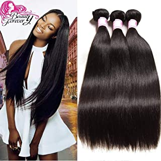 Beauty Forever Hair Brazilian Straight Hair 3 Bundles Unprocessed Virgin Human Hair Extensions Natural Color Can Be Dyed and Bleached (8 10 12)
