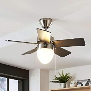 Ventilador de techo con lámpara 'Ante' (Moderno) en Gris hecho de Madera e.o. para Dormitorio (1 llama, E27, A++) de LAMPENWELT | Ventilador