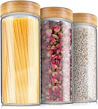 Weetall Glass Storage Jars Kitchen Canisters Set-3 1.2L, Glass Cans with Lids Sealed Food Storage Containers for Sugar, Co...