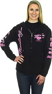 Women's Ford Mustang Classic Pony Logo Hoodie Black Zip Up Sweatshirt