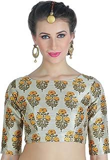 Studio Shringaar Women's Poly Raw Silk Santorini Tulip Print Saree Blouse