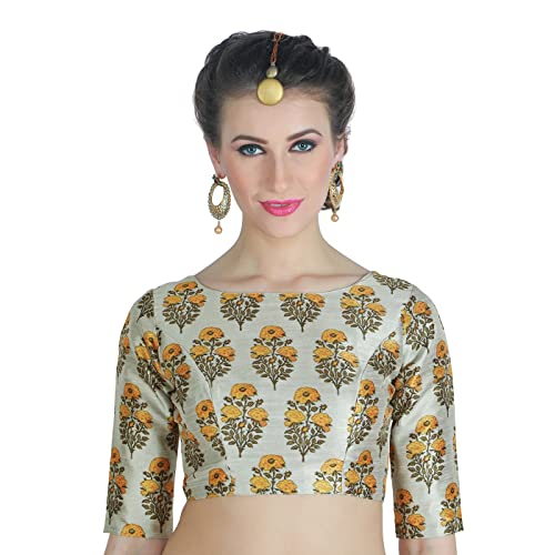 2dbc2ed12e Studio Shringaar Women s Poly Raw Silk Santorini Tulip Print Saree Blouse