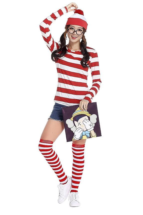 追放オーバーヘッドグループSummer Shop[サマーショップ]ハロウィン 仮装 大人 レディース コスプレ ウォーリーを探せ コスチューム 女の子 4点セット(シャツ 帽子 メガネ ソックス) (レッド×ホワイト, M)