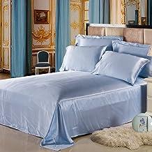 Lilysilk 1B02-09-QN 100% Mulberry Silk Sheets Set 4pcs 19 Momme, Queen, Light Blue