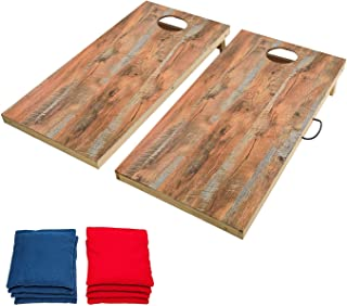 OOFIT Regulation Cornhole Game Set Solid Wood Premium Corn Hole Outdoor Game - 2' x 4' Game Boards, with Scratch Resistant Surface, Convenient Carry Handle and 8 Toss Bags