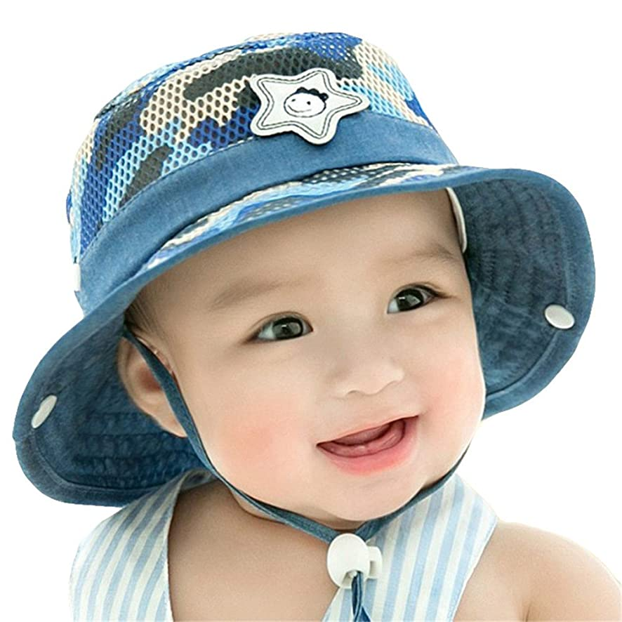 Roffatide Baby Toddler Infant Mesh Camo Boonie Fishing Bucket Sun Hat Summer Cap with Chin Strap