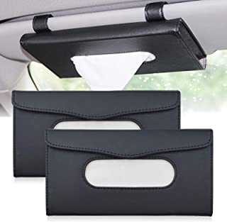 ROLLMOSS 2 Pcs Car Visor Tissue Holder, Car Sun Visor Organizer Tissue Box Holder for Car, PU Leather Car Napkin Holder Kl...