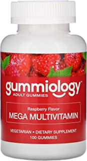 Gummiology Adult Mega Multivitamins Gummies, Natural Raspberry Flavor, 100 Vegetarian Gummies