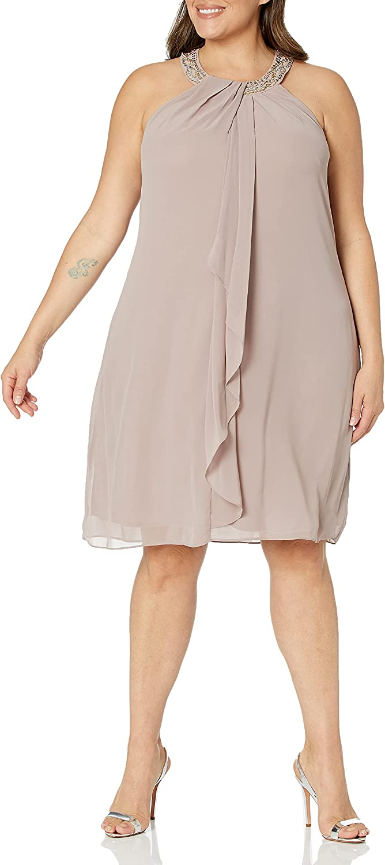 S.L. Fashions Women's Plus-Size Jewel-Neck Dress
