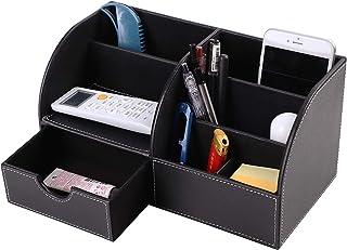 Organisateur de Bureau en Cuir PU Pot à Crayons 7 Compartiments avec un Tiroir Porte-stylo Multifonctionne Panier Boîte de...