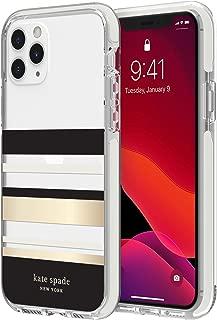 kate spade new york Defensive Hardshell Case (1-PC Comold) for iPhone 11 Pro - Park Stripe Gold Foil/Black/Cream/Cream Bumper/Clear