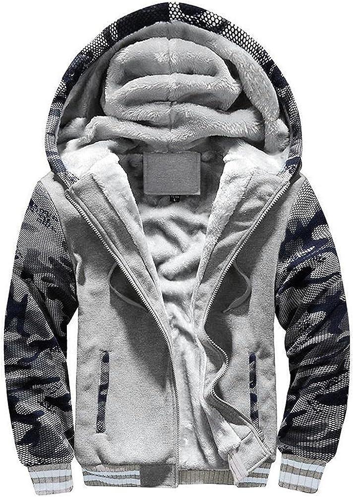 JSPOYOU Men's Sweatshirts Jackets Winter Workout Sherpa Fleece Lined Full Zip Hoodie Coats Outdoors Sports Outwear