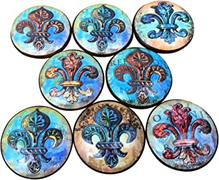 Set of 8 Copper Fleur De Lis Wood Cabinet Knobs