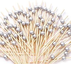 Silver Cocktail Picks 100 Counts Handmade Sticks Wooden Toothpicks Cocktail Sticks Party Supplies - Matt Silver