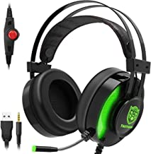 JINDUN Gaming Headphone, Multi-Platform Headset for PS4, PC, X Box One, Nintendo Switch Controller, 7.1 Stereo Surround Gaming Headset, in-Ear LED Headset with Noise-canceling Microphone, Green