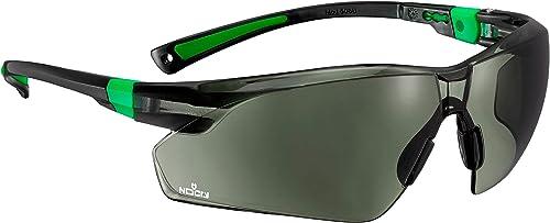 NoCry Lunettes de soleil de sécurité pour le travail et le sport avec verres enroulables teintés verts et poignées an...