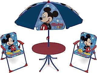 comprar comparacion ARDITEX WD13011 Set de Mesa (50x50x48cm), 2 Sillas (38x32x53cm) y Sombrilla (diámetro 110cm) de Disney-Mickey