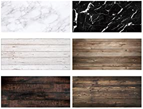 Allenjoy 3pcs 34.4x15.7in Double Sided Photography Background 2 in 1 Black White Wood Marble Texture Pattern Waterproof Paper Tabletop Backdrop Food Jewelry Cosmetics Makeup Professional Photo Shoot