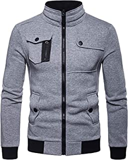 Men'S Casual Sweatshirt - Zippered Slim Jacket With Pockets Loose Sweatshirt