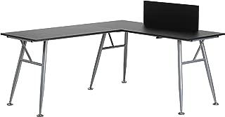 Flash Furniture Black Laminate L-Shape Computer Desk with Silver Metal Frame