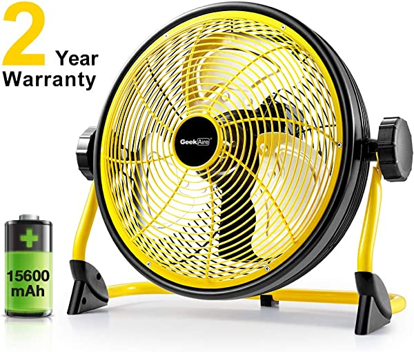 Geek Aire Fan Battery Operated Floor Fan 15600mAh Rechargeable Powered High Velocity Portable Fan Air Circulator Fan With Metal Blade Up To 24h Run Time For Camping Traval Hurricane 12 Inch