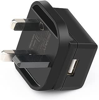 SOAIY USB Charger Plug 3 Pin UK Main Adapter Plug,Black (1A-1PCS)