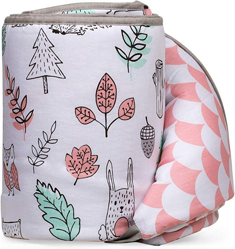 Lolli Living Woodlands Crib Bumper With Reversible Pink Scallop 100 Cotton Baby Crib Liner With Polyester Fill Kayden Collection