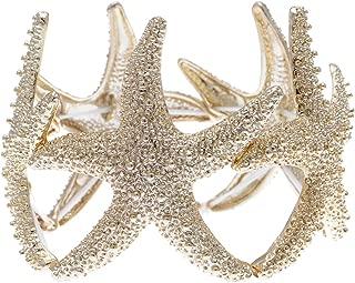 Womens Shiny Textured Starfish Stretch Bangle Cuff Statement Bracelet