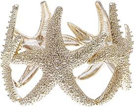Alilang Womens Shiny Textured Starfish Stretch Bangle Cuff Statement Bracelet