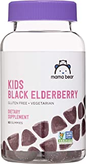 Amazon Brand - Mama Bear, Vegetarian Kids Black Elderberry Gummies 300 mg with Vitamins C, D, E and Zinc - Immune System S...