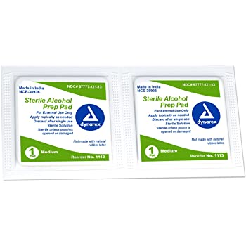 Dynarex Alcohol Prep Pad, Medium, Sterile, 2,000 Count (Package May Vary)