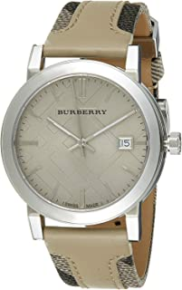 BU9021 Women's Large Check Tan Leather and Canvas Strap Cream Dial Watch