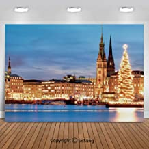 8x8 Ft VinylWinter Backdrop for Photography,Hamburg Germany Old Town Hall with Christmas Tree Evening Historical Architecture Decorative Background Newborn Baby Photoshoot Portrait Studio Props Birthd