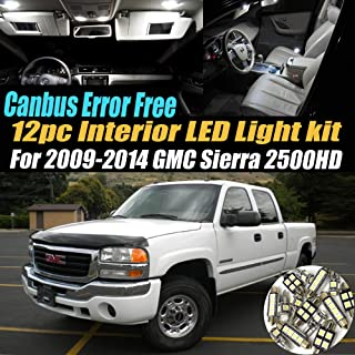 12Pc Canbus Error Free Super White 6000K Car Interior LED Light Kit Compatible for 2009-2014 GMC Sierra 2500HD Equipped w/Advanced Computer system