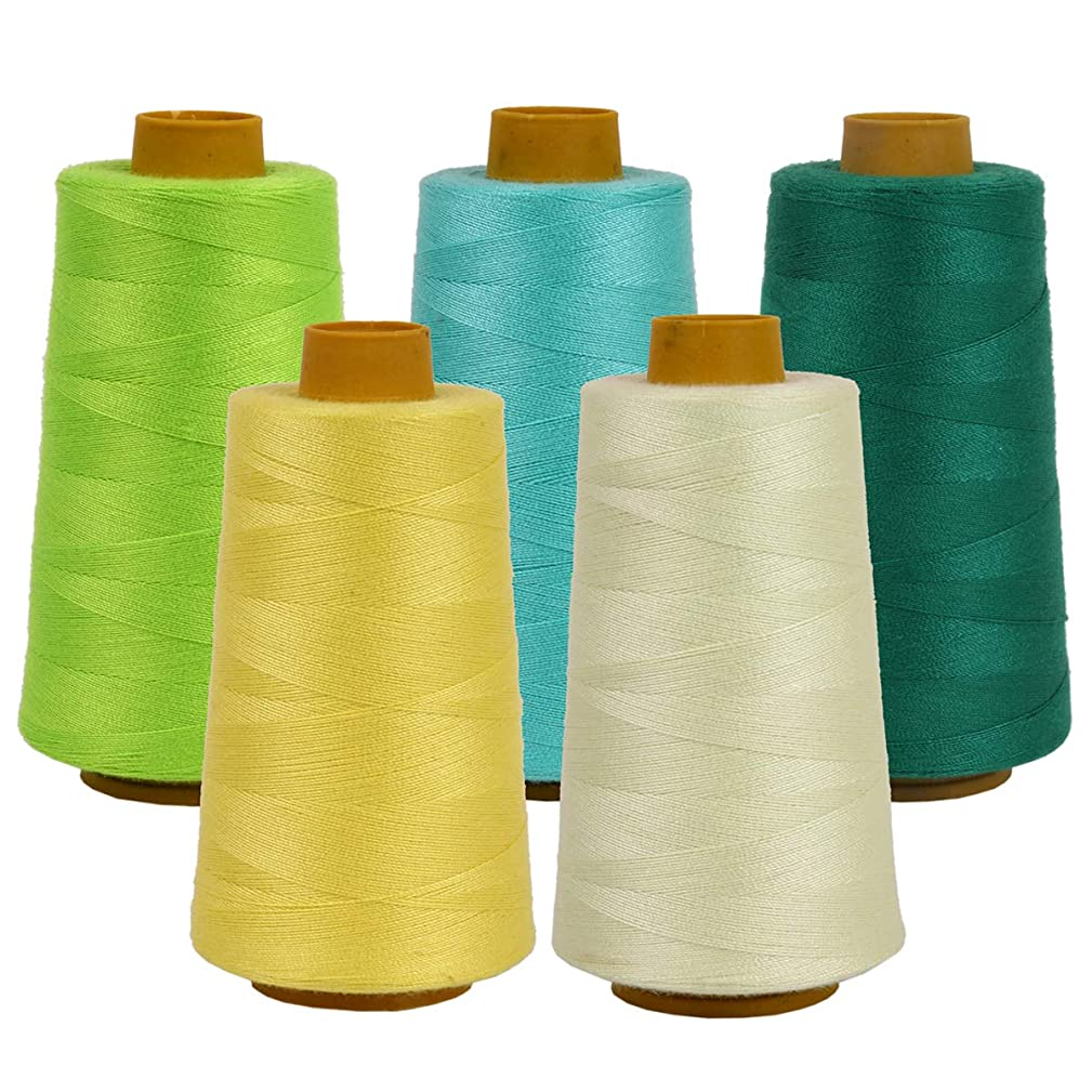 All Purpose 20s/2 Sewing Thread 100% Polyester Spools 5 Colors for Sewing Machine (Yellow, Green)