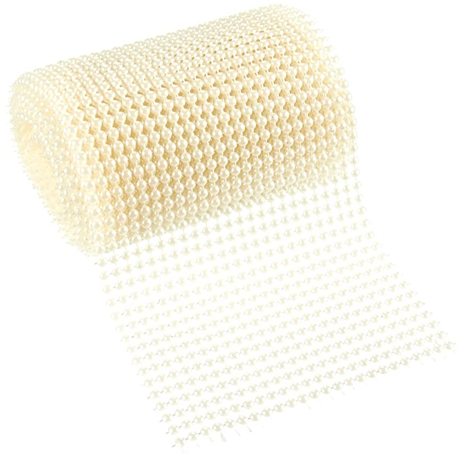 Pearl Ribbon - Pearl Mesh Wrap Roll - Arts and Crafts Ribbon, Pearl Wedding Decor, Creamy White Plastic, 4.6 Inches Wide, 3.3 Yards Long, Each Bead 4mm