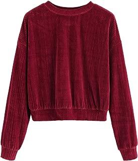 Casual Sweatshirts Crewneck Drop Shoulder Ribbed Velvet Pullover Sweatshirt Long Sleeve Crop Tops