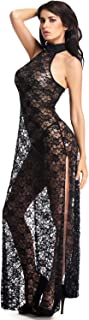 Womens Floral Lace Lingerie Long Cheongsam Side Split Gown