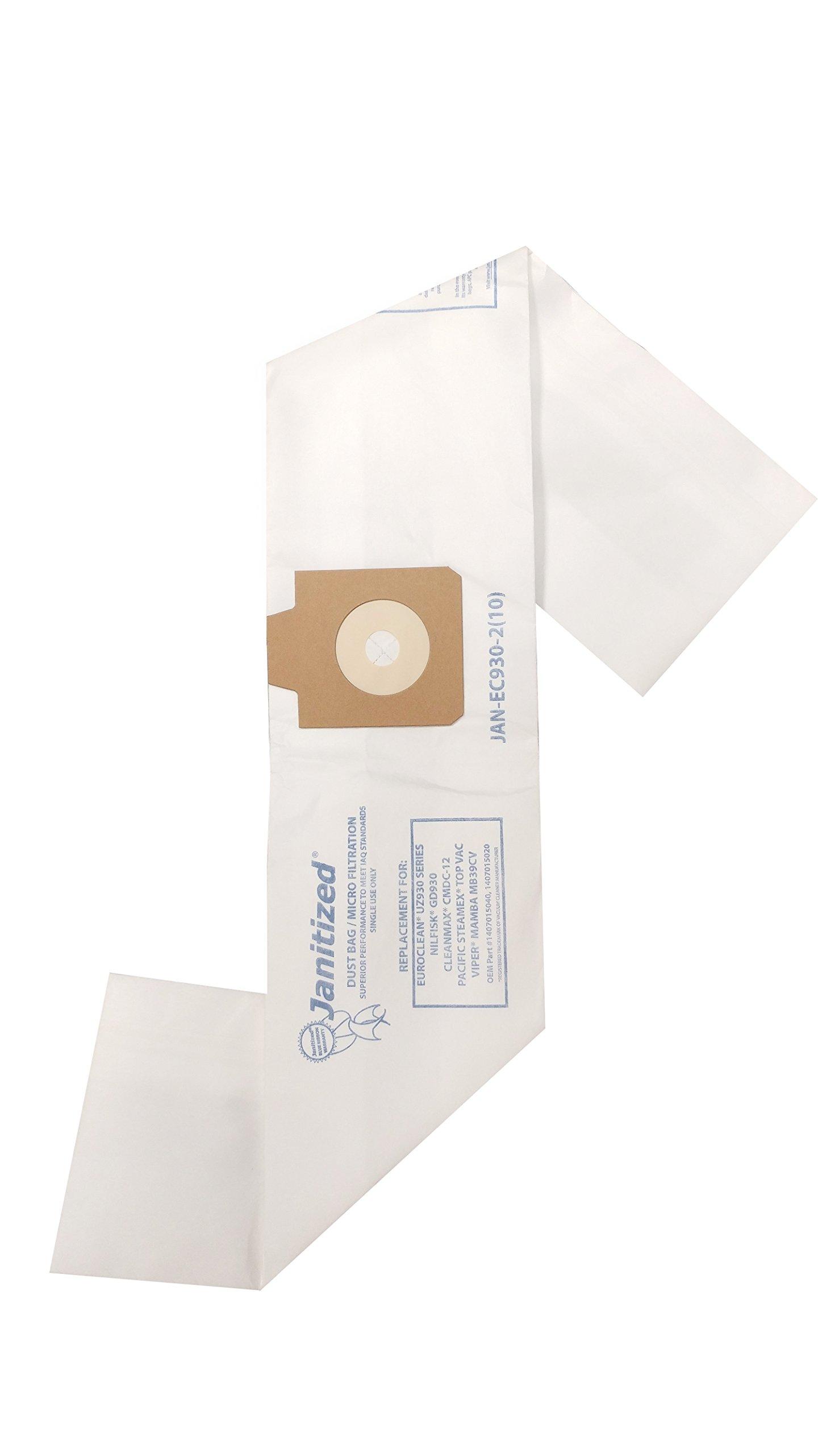 10 Karcher//Tornado PV10 Janitized JAN-KAPV10-2 69370 Premium Replacement Commercial Vacuum Paper Bag Power-Flite PF1000BP OEM#B352-7800 Sanitaire SC420A Tennant V-BP-10 Pack of 10 87537