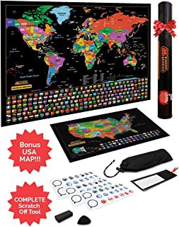 Best Scratch Off Map of The World/United States USA, Scratchable Travel Wall Art, Large World Map Poster, Travel Tracker US State & Country Flags - Memory Stickers, Magnifier & Scratch Art Tool Review