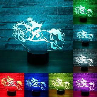 RUMOCOVO® Caballo Racing 3D Luz De Noche LED 7 Colores Illusion Lámpara Holiday Regalo juguete Decoración Lámpara Hogar Iluminación