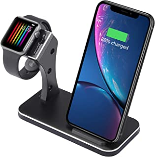 BNCHI 2-in-1 Wireless Fast Charger Stand, BNCHI A18 Charger Compatible with iPhone XS Max/XS/XR/X/8/8 Plus & iWatch Series 4/3/2/1 & Galaxy S8/S9 and More.(Black)