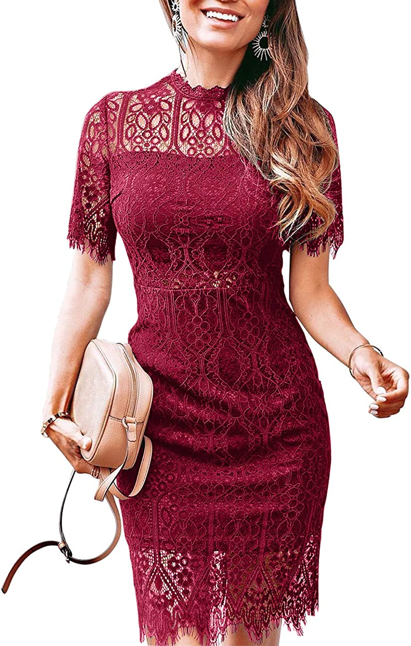 MEROKEETY Women's High Neck Floral Lace Elegant Cocktail Dress Short Sleeve Knee Length for Party