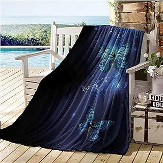 Dark Blue Baby Blankets for Girls,Fantasy Magical Butterflies Monarch Artistic Morpho Inspiration Animal,Sofa Sleeper Queen Cobalt Blue Black 50